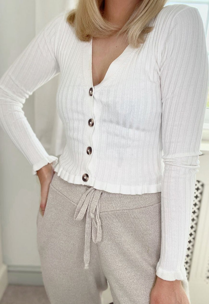 Brielle Frill Ribbed Cardigan in Ivory