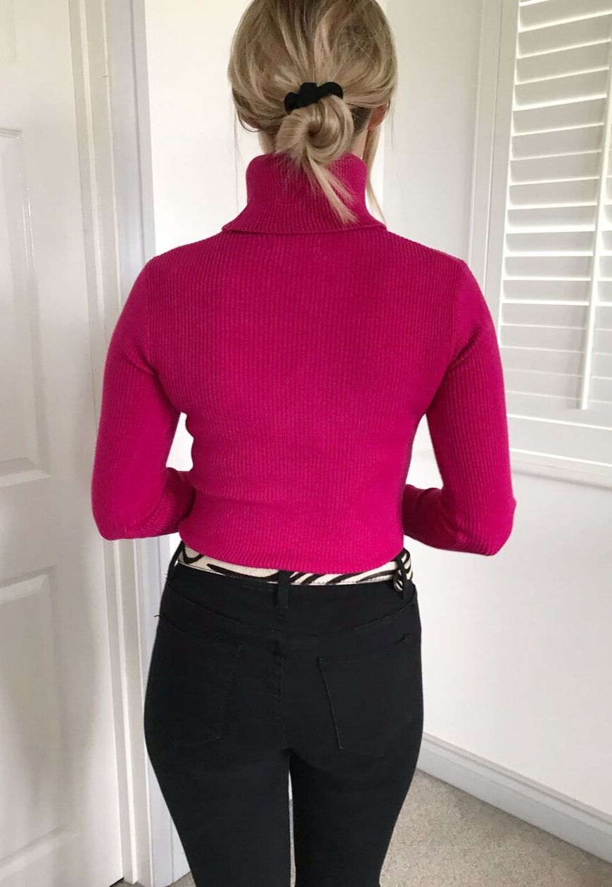Amara Roll Neck Jumper in Hot Pink
