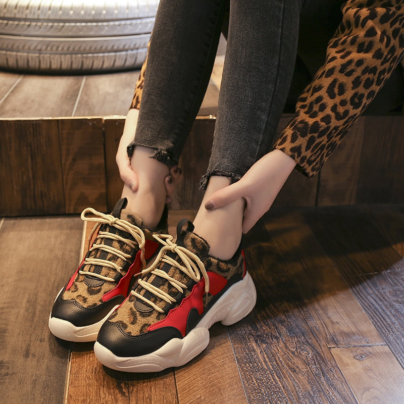 Leopard Mixed Colors Plush Fashion High Quality Women Sneakers Wedges Espadrilles - XenoStudio