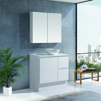 MELA - PADDY 750 Gloss White Freestanding Vanity with Door & Drawers