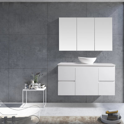 MELA - PADDY 1200 Gloss White Wall Hung Vanity with Door & Drawers
