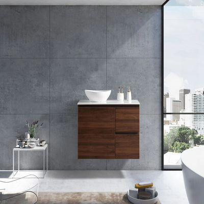 MELA - PADDY 750 Walnut Wall Hung Vanity with Door & Drawers