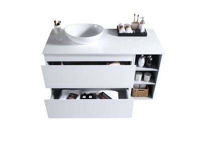 MELA - CLARK 900 Gloss White Wall Hung Vanity with Drawers and Shelves