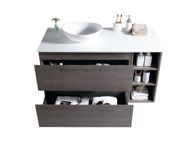 MELA - CLARK 900 Dracula Oak Wall Hung Vanity with Drawers and Shelves