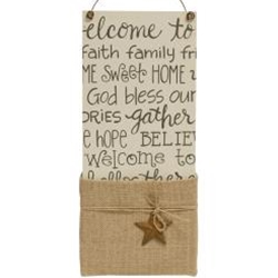*Everyday Sayings Collage Burlap Pocket