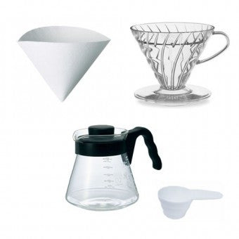 Hario sada V60-02 Pour Over Kit - vše v jednom (dripper + server + filtry) černá|V60-02 Pour Over set - All in one