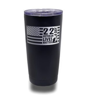 Tumbler- Black 20oz w/ Lasering- 22 Veterans A Day Flag