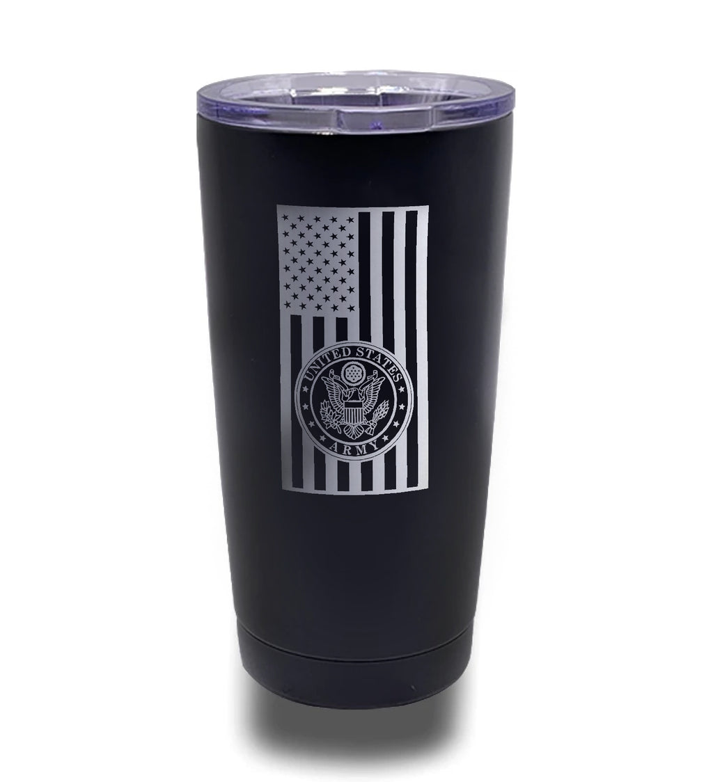 Tumbler- Black 20oz w/ Lasering- Army Seal - Vertical Flag