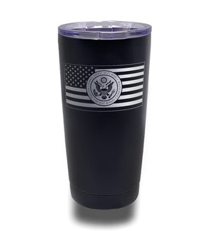 Tumbler- Black 20oz w/ Lasering- American Flag- Army Seal Centered Inverted Flag