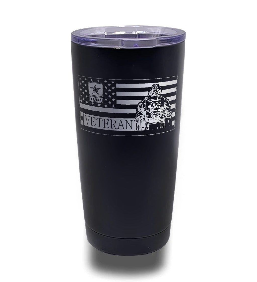 Tumbler- Black 20oz w/ Lasering- American Flag- Army Veteran Soldier Inverted Flag