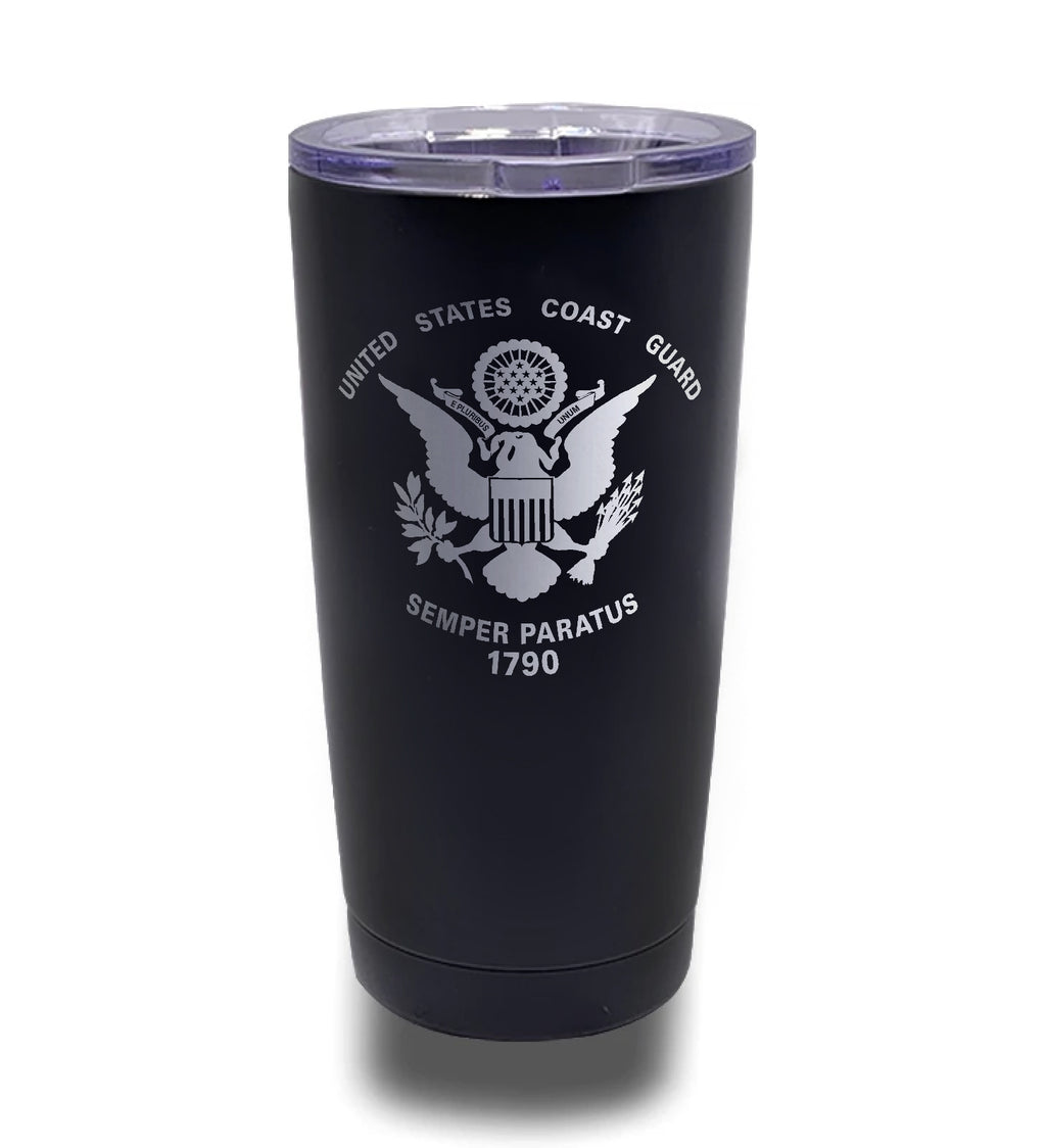Tumbler- Black 20oz w/ Lasering- Coast Guard Logo