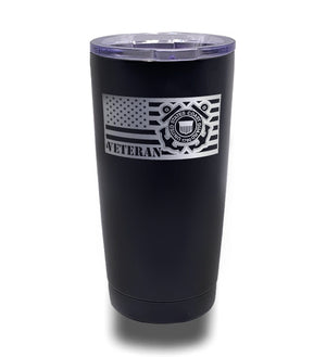 Tumbler- Black 20oz w/ Lasering- Coast Guard Veteran Flag