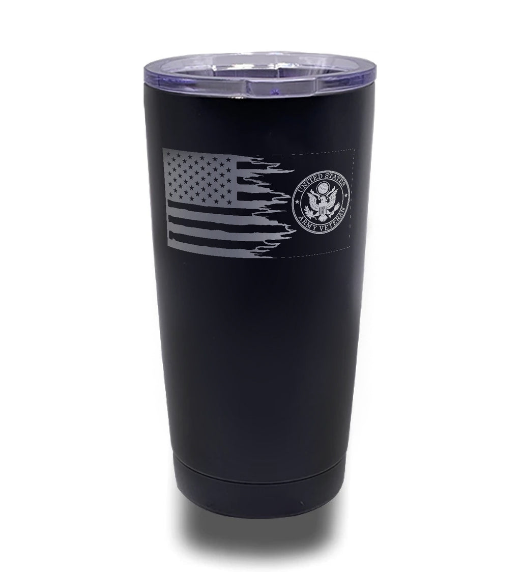 Tumbler- Black 20oz w/ Lasering- Distressed Tattered Flag with Army Veteran Logo
