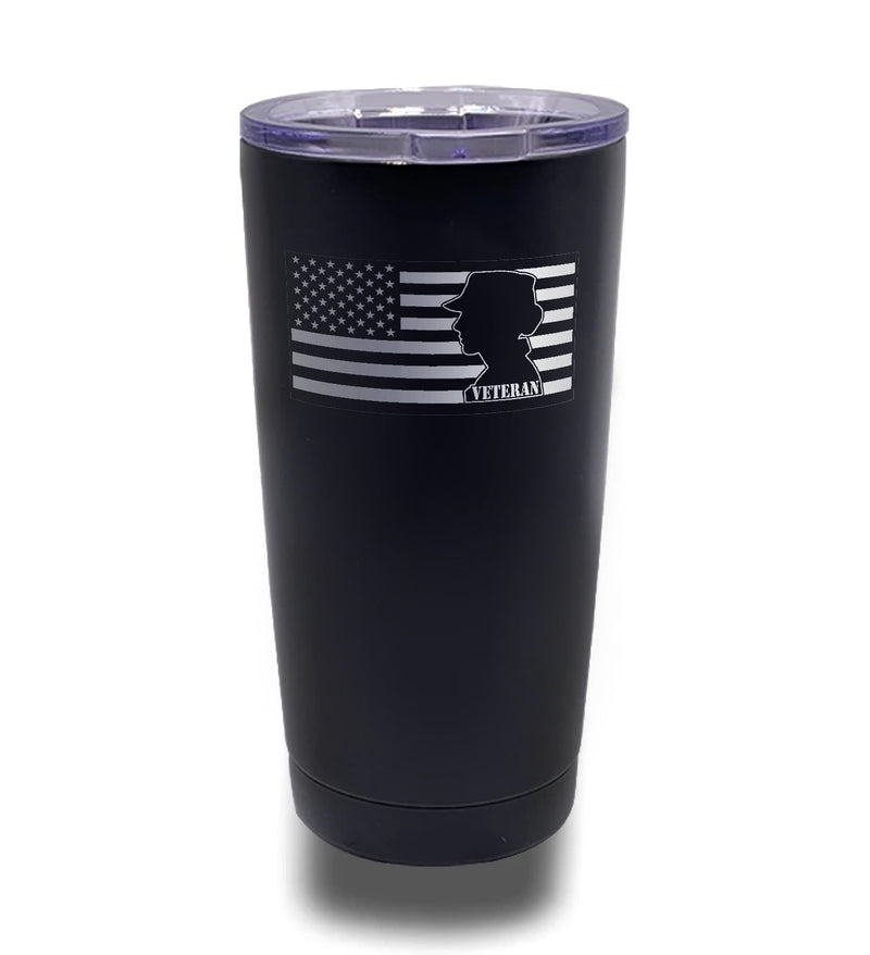 Tumbler- Black 20oz w/ Lasering- Female - Veteran Left Flag
