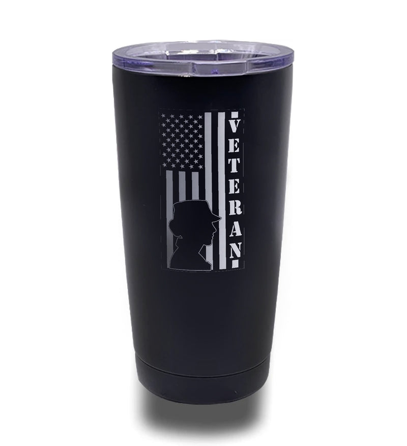 Tumbler- Black 20oz w/ Lasering- Female Veteran - Vertical Flag