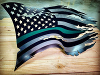 Thin Green Line Steel Distressed Tattered Battle Flag