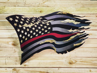 Thin Red Line Steel Distressed Tattered Battle Flag