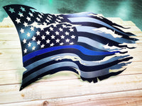 Thin Blue Line Steel Distressed Tattered Battle Flag
