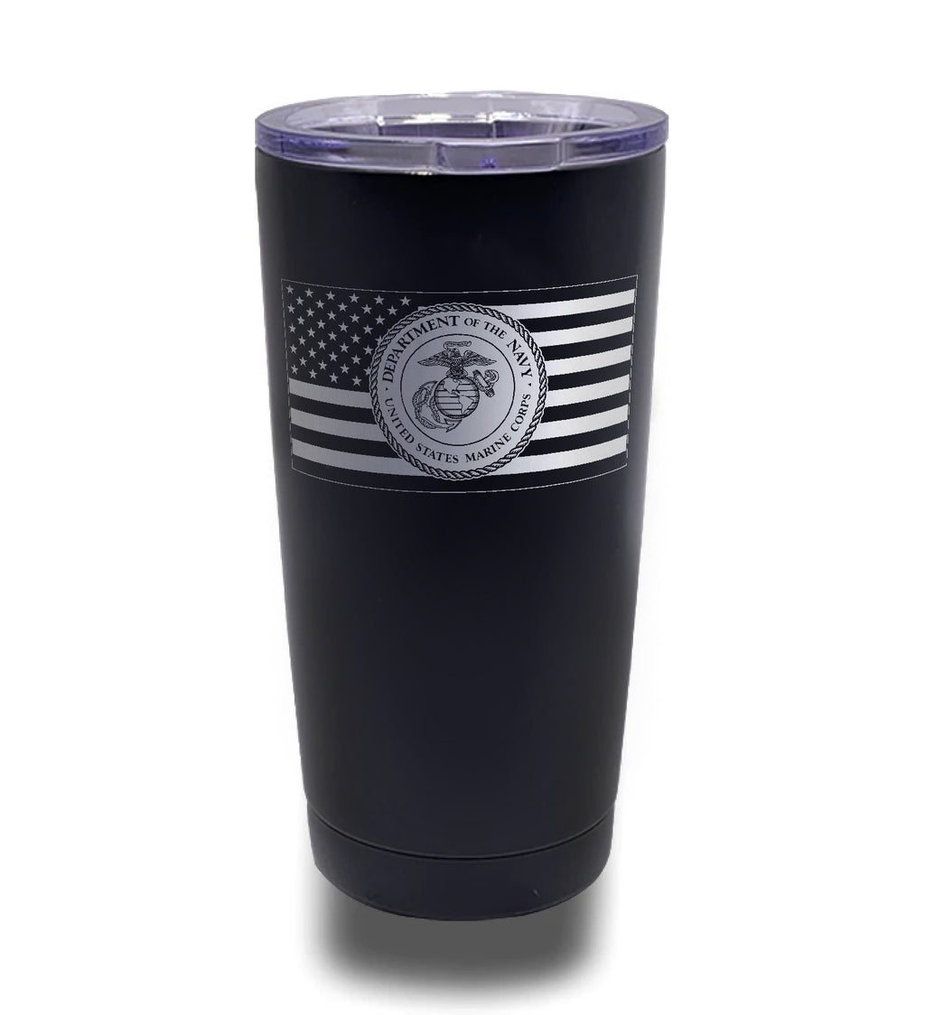 Tumbler- Black 20oz w/ Lasering- American Flag- Marine Seal Inverted Flag