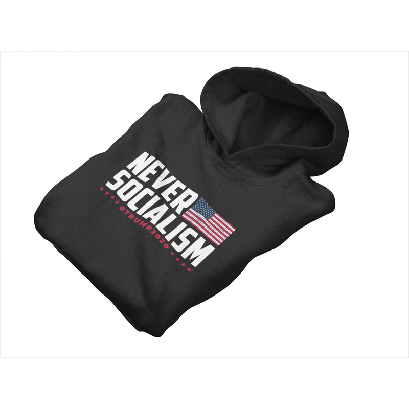 USPatriotgear.com | Never Socialism Trump 2020 Hooded Sweatshirt
