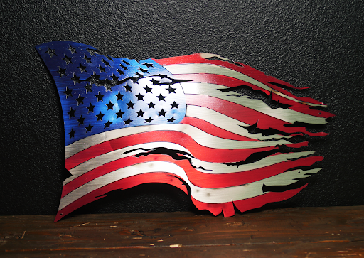 Old Glory Steel Distressed Tattered Battle Flag