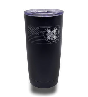 Tumbler- Black 20oz w/ Lasering- Tattered Circle Flag with VFW Logo