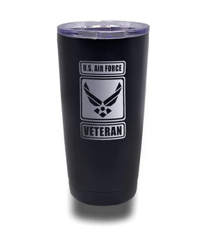 Tumbler- Black 20oz w/ Lasering- US Air Force Veteran