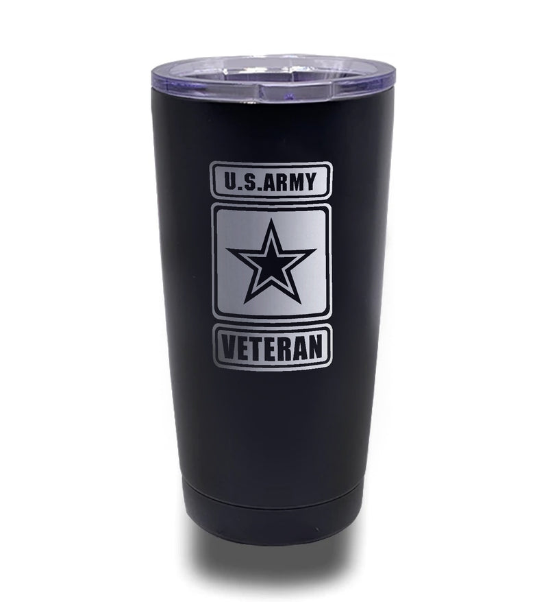 Tumbler- Black 20oz w/ Lasering- US Army Veteran