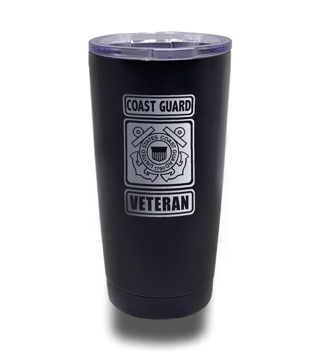 Tumbler- Black 20oz w/ Lasering- US Coast Guard Veteran