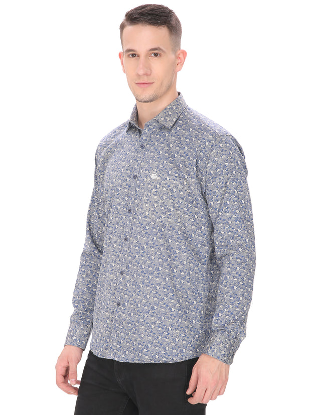 Men's Casual Fit Greyish Blue Floral Shirt