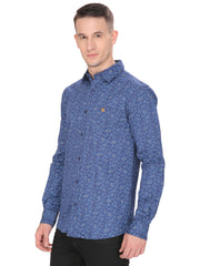Men's Casual Fit Dark Blue Floral Shirt