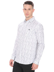 Men's Casual Fit White Shirt With Blue Small Flower
