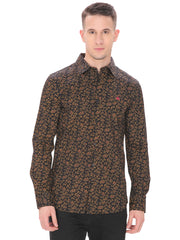 Men's Casual Fit Black Shirt With Yellow Flowers