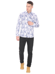 Men's  Casual Fit White And Blue Floral Shirt