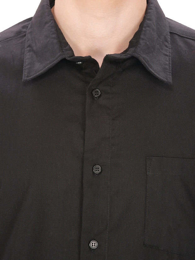 Men's Plain Slim Fit Black Shirt