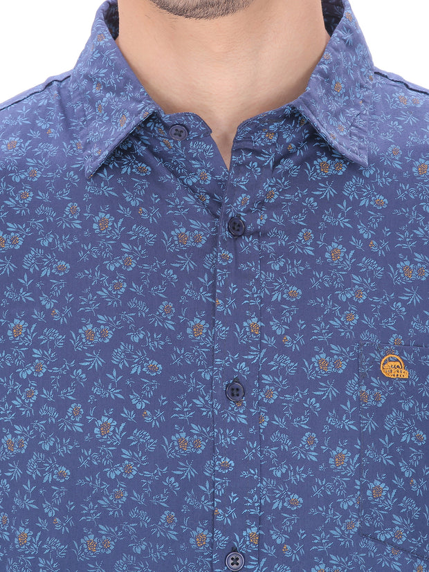 Men's Casual Fit Blue Floral Shirt