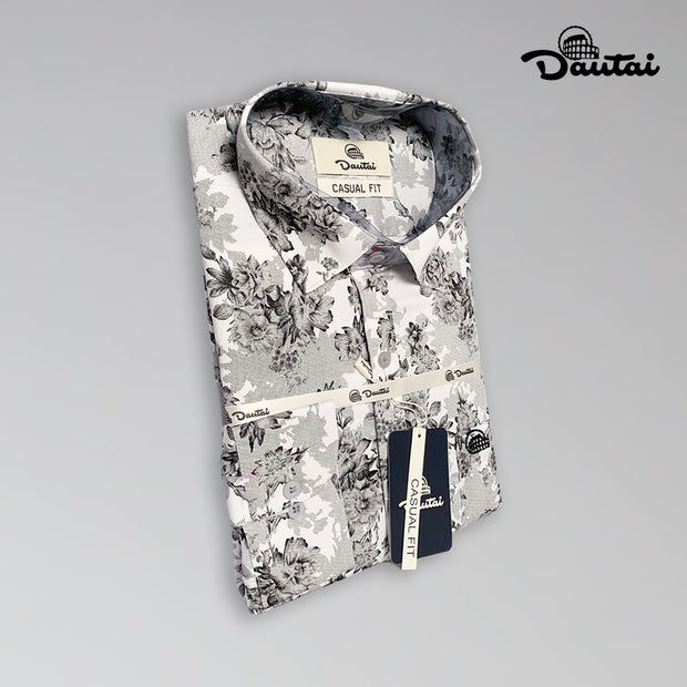 Men's Casual Fit Black And White Floral Shirt