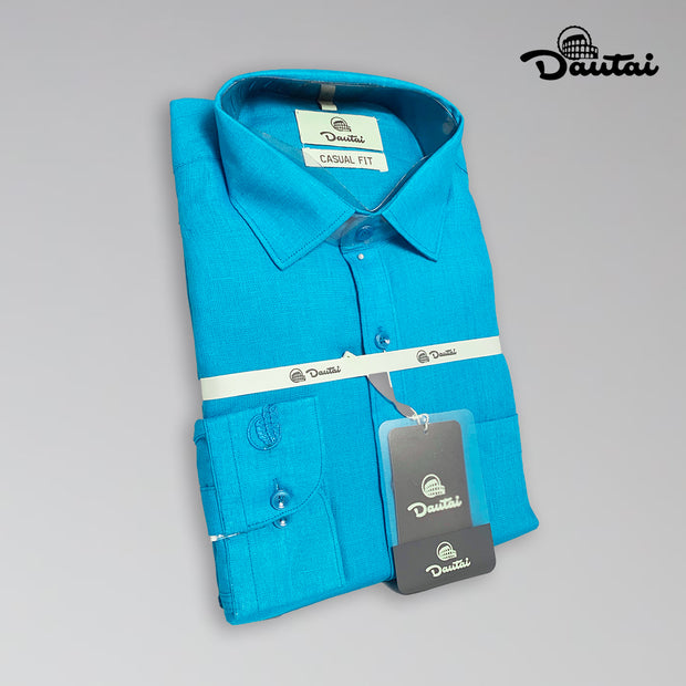 Men's Plain Blue Casual Shirt