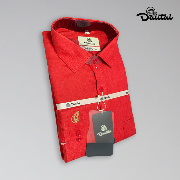 Men's Plain Red Casual Shirt