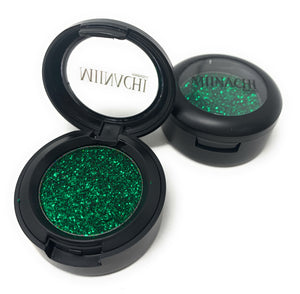 Single Pressed Glitter in the shade Zelena, No Glue Needed, In Compact, Pigmented, No Fall Out, Glitter, Cosmetic Grade Glitter