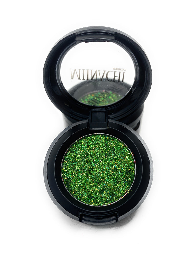 Single Pressed Glitter in the shade Zombie, No Glue Needed, In Compact, Pigmented, No Fall Out, Glitter, Cosmetic Grade Glitter, Green