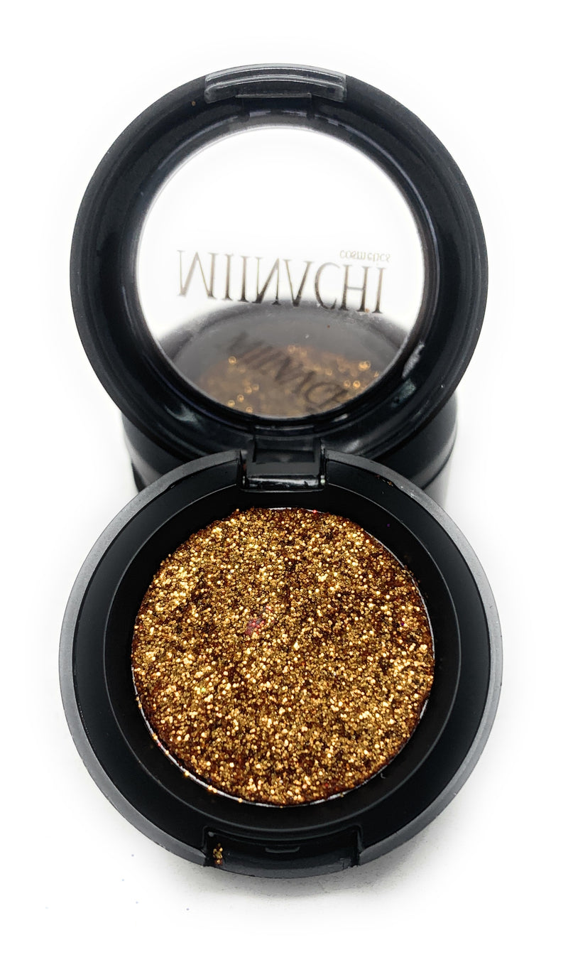 Single Pressed Glitter in the shade Honey Pot, No Glue Needed, In Compact, Pigmented, No Fall Out, Glitter, Cosmetic Grade Glitter