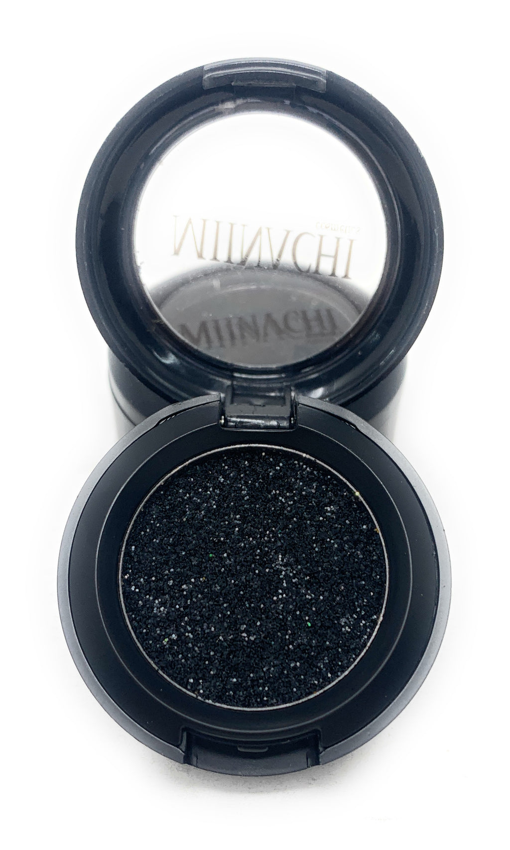 Single Pressed Glitter in the shade Dark Knight, No Glue Needed, In Compact, Pigmented, No Fall Out, Glitter, Cosmetic Grade Glitter