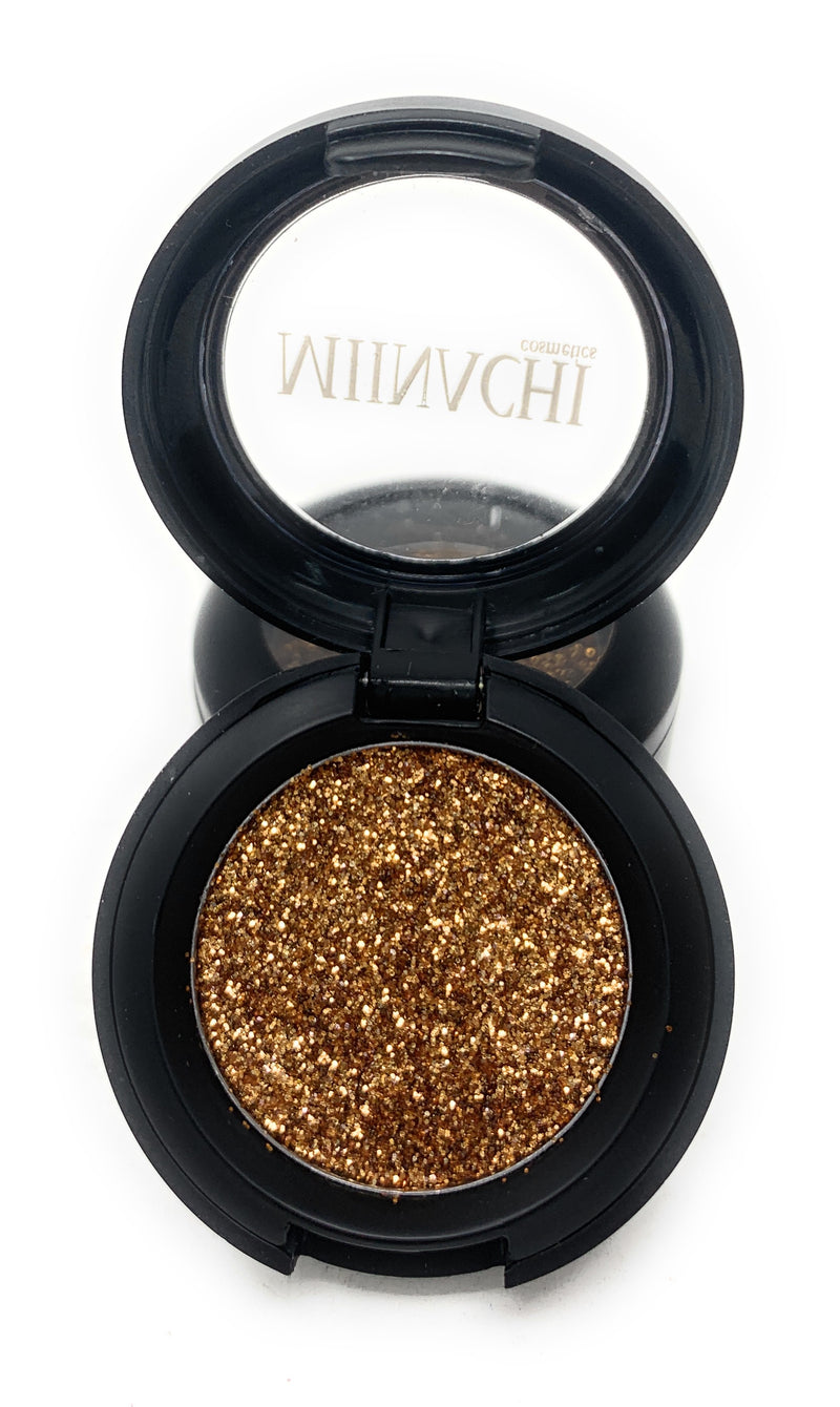 Single Pressed Glitter in the shade Bronze, No Glue Needed, In Compact, Pigmented, No Fall Out, Glitter, Cosmetic Grade Glitter
