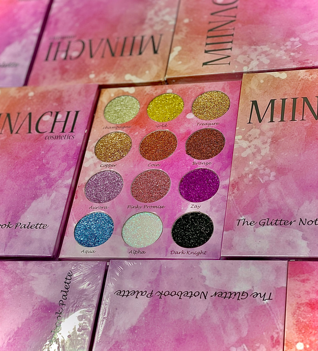 Miinachi Pressed Glitter Notebook Palette No Glue Needed Glitter Palette Pigmented No Fall Out 12 Shades