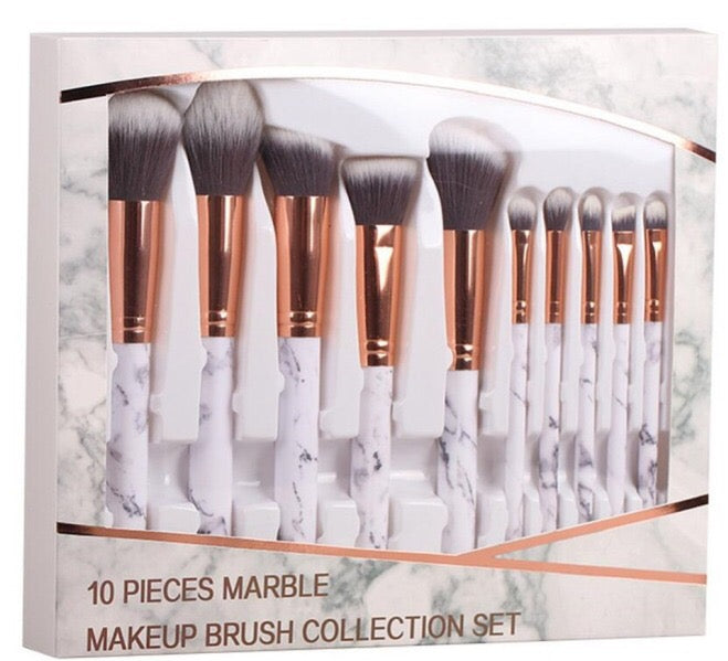 Miinachi Marble Boxed Brush Set 10 Brushes Including Box Easy Traveling Professional Make Up Artist