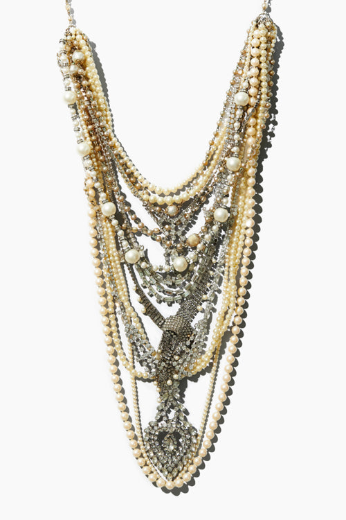 Couture Large Layered White Crystal Necklace with Deco - Studio C