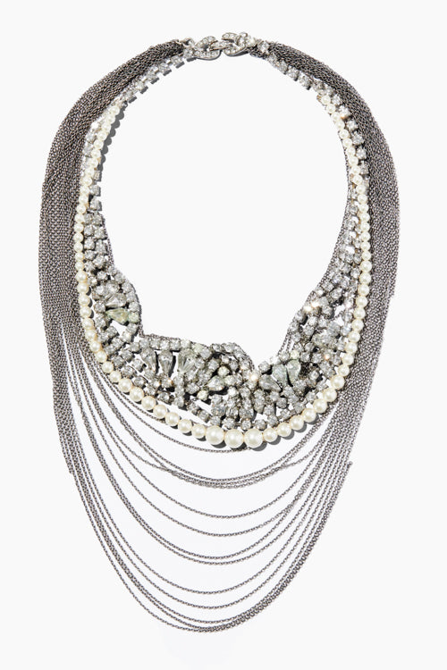 Crystal & Single Strand Pearl Chain Necklace - Studio C