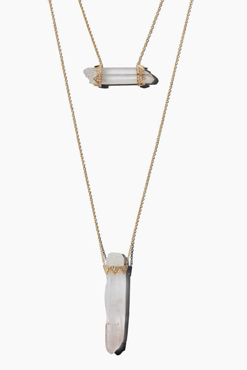 Two Drop Clear Quartz Crown Necklace - Studio C