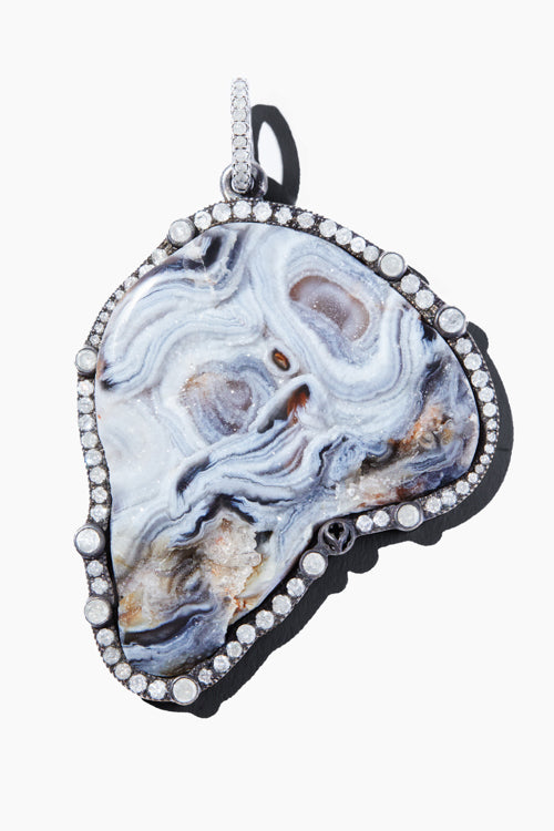 Large Druzy Gray Agate Pendant w/ Pave Frame - Studio C
